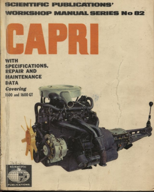 Image for CAPRI SERIES 1600 & 1600GT WITH SPECIFICATIONS. REPAIR AND MAINTENANCE DATA