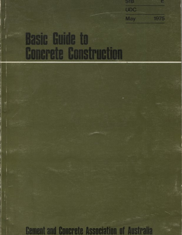 Image for BASIC GUIDE TO CONCRETE CONSTRUCTION